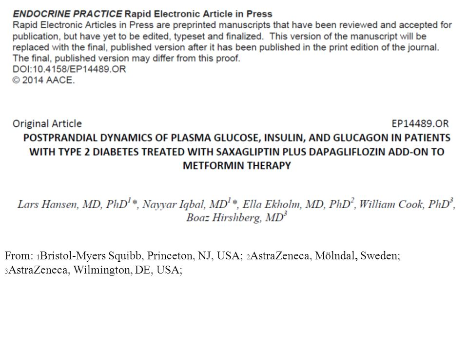 Objective: To analyze changes in plasma glucose, insulin, and glucagon in relation to glycemic response during treatment with dual add-on of saxagliptin (SAXA) plus dapagliflozin (DAPA) to metformin XR (MET) compared with SAXA add-on or DAPA add-on alone to MET in patients with type 2 diabetes mellitus (T2DM) poorly controlled with MET.