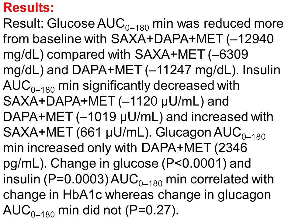 Conclusion: When added to background MET, the combination of SAXA+DAPA provided additional reduction in glucose AUC 0–180 min and HbA1c without the increase in insulin seen with SAXA and without the increase in glucagon seen with DAPA.