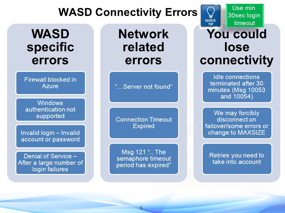 6 Example Connectivity Errors 40XXX errors unique to WASD 40XXX errors unique to WASD Be sure to give this to support Be sure to give this to support May see this after deleting a server May see this after deleting a server Network latency After getting dropped on idle connection After getting dropped on idle connection