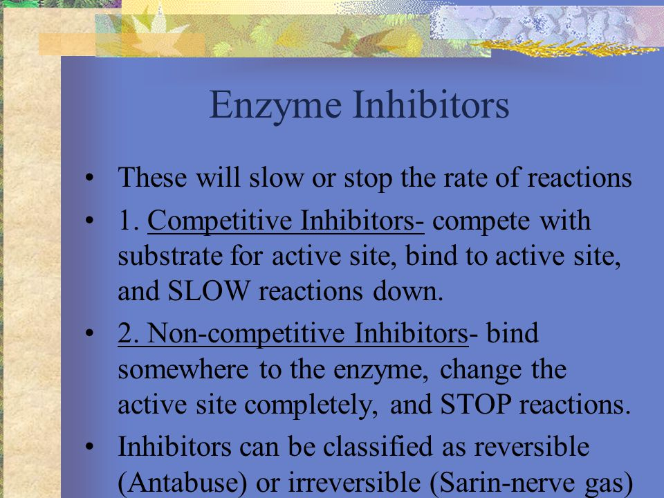 Substrate Active site Enzyme Competitive inhibitor Normal binding Competitive inhibition Noncompetitive inhibitor Noncompetitive inhibition A substrate can bind normally to the active site of an enzyme.