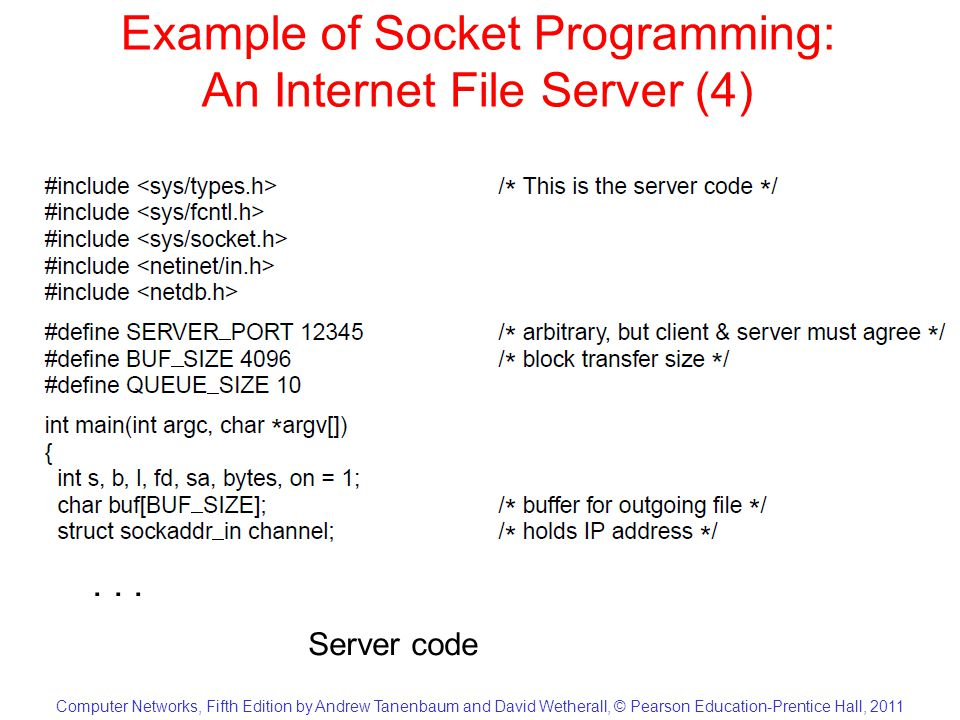 Computer Networks, Fifth Edition by Andrew Tanenbaum and David Wetherall, © Pearson Education-Prentice Hall, 2011 Example of Socket Programming: An Internet File Server (5)...