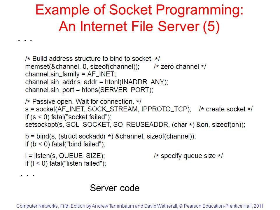 Computer Networks, Fifth Edition by Andrew Tanenbaum and David Wetherall, © Pearson Education-Prentice Hall, 2011 Example of Socket Programming: An Internet File Server (6)...