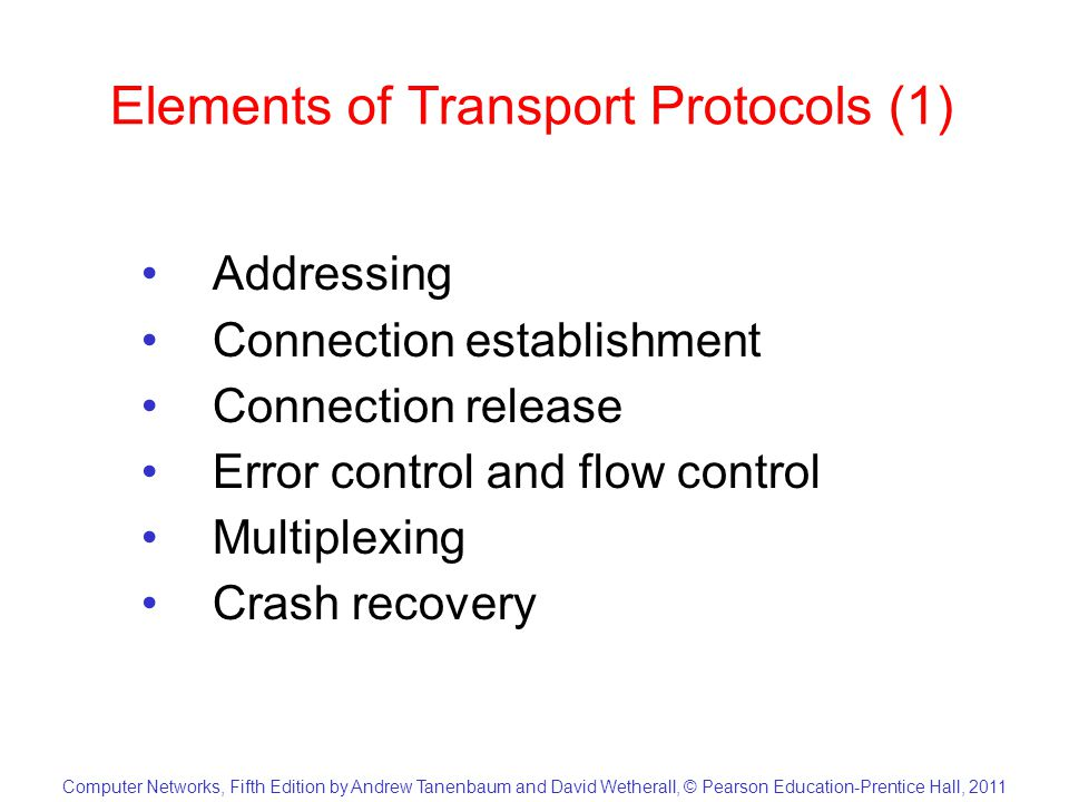 Computer Networks, Fifth Edition by Andrew Tanenbaum and David Wetherall, © Pearson Education-Prentice Hall, 2011 Elements of Transport Protocols (2) (a)Environment of the data link layer.