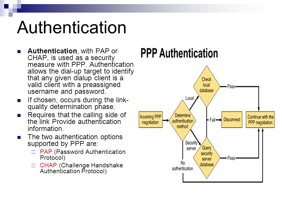 PAP Is Not As Good As CHAP Password Authecntication Protocol (PAP):  Passwords are sent across the link in clear text  The remote node is in control of the frequency and timing of the login attempts.