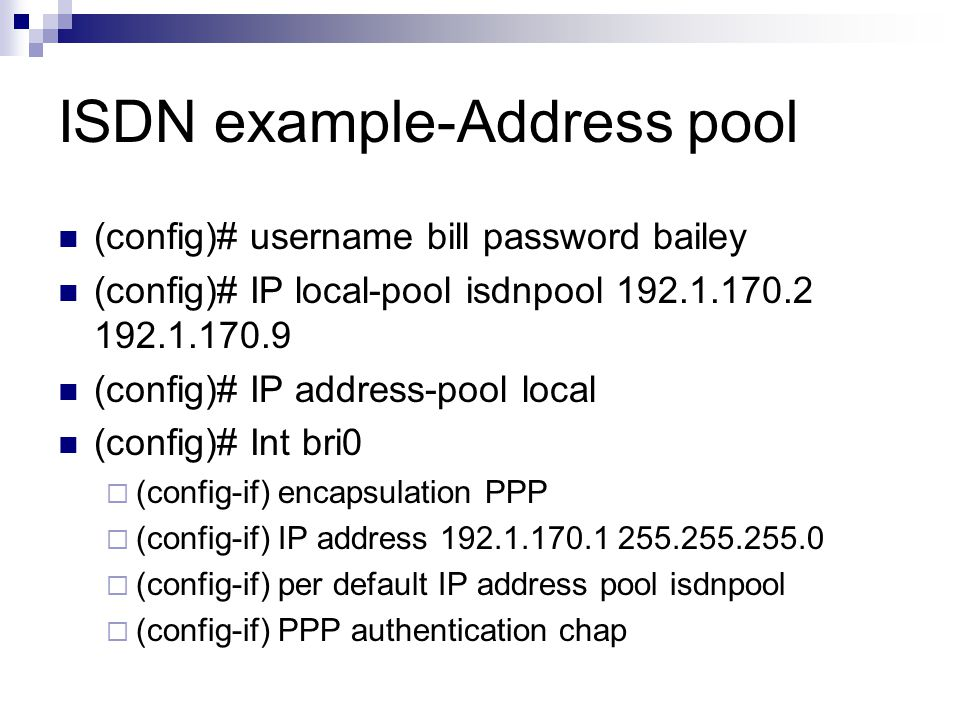 Pool-DHCP A pool of IP addresses is defined inside a centralized IP address server, called DHCP server.