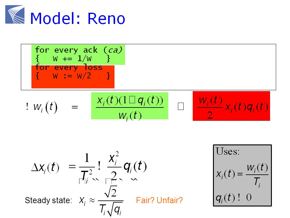 Delay-based TCP: Vegas (Brakmo & Peterson 1994)  Reno with a new congestion avoidance algorithm  Converges (provided buffer is large) .