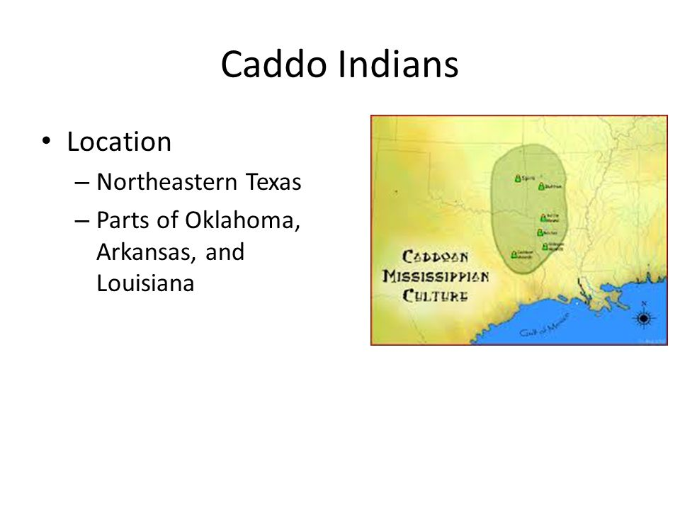 Caddo Indians Sedentary Farmers – Grew maize Established several homesteads and villages Built Spiro mounds for worship and rituals