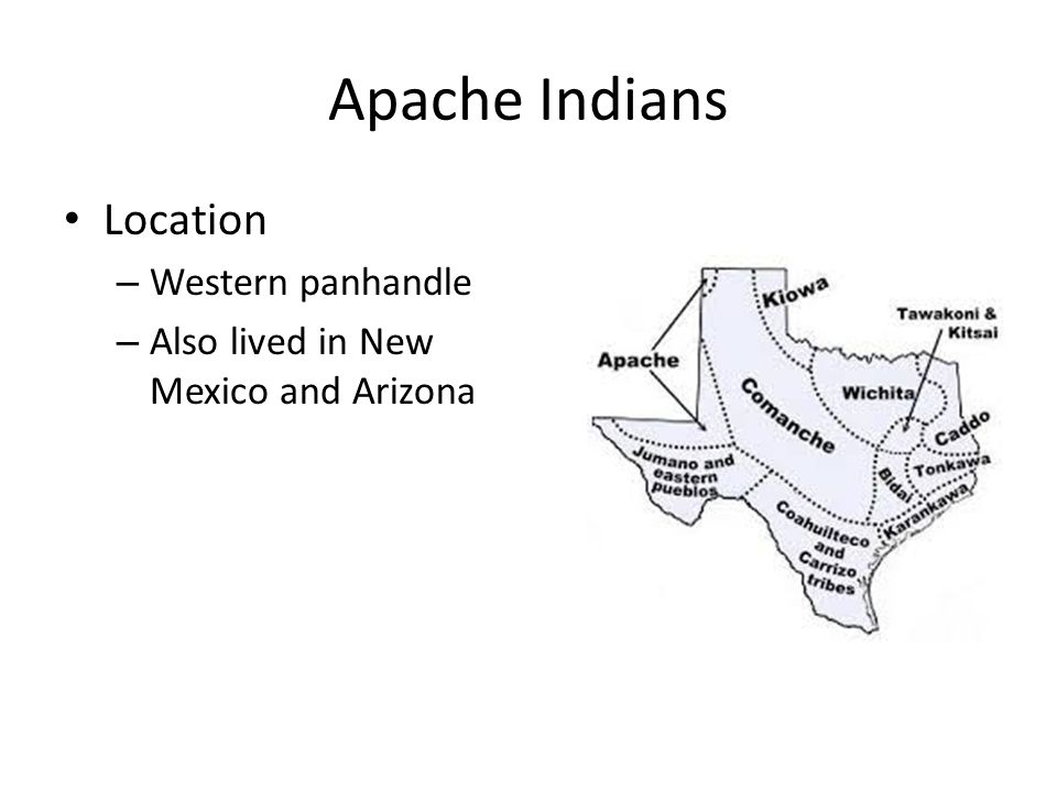 Apache Indians Nomadic Known to be fierce warriors and skillful fighters Hunted buffalo Took over other tribes established communities