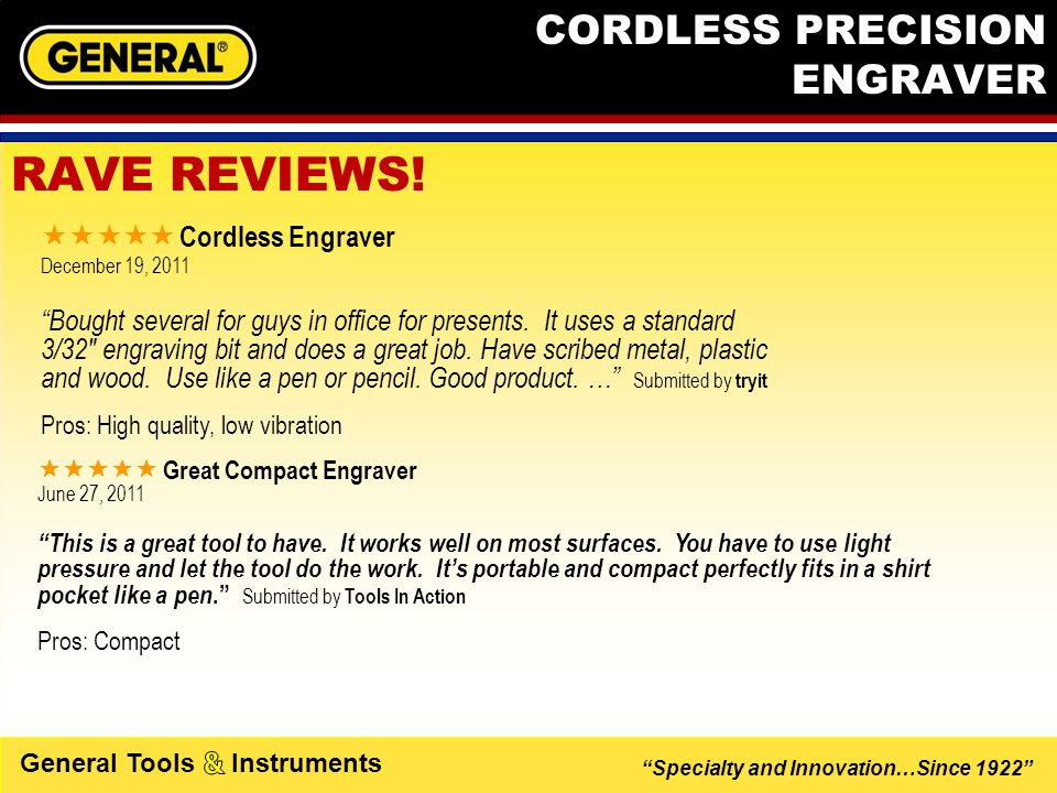 Specialty and Innovation…Since 1922 General Tools Instruments CORDLESS PRECISION ENGRAVER  A real review.