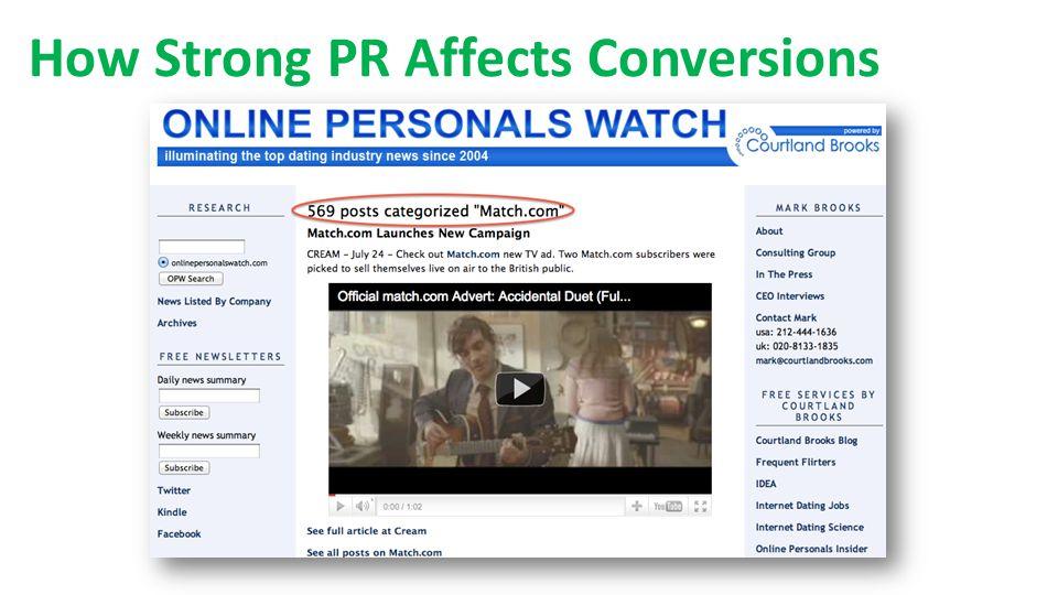 How Strong PR Affects Conversions MATCH REVENUES Match.com Revenue