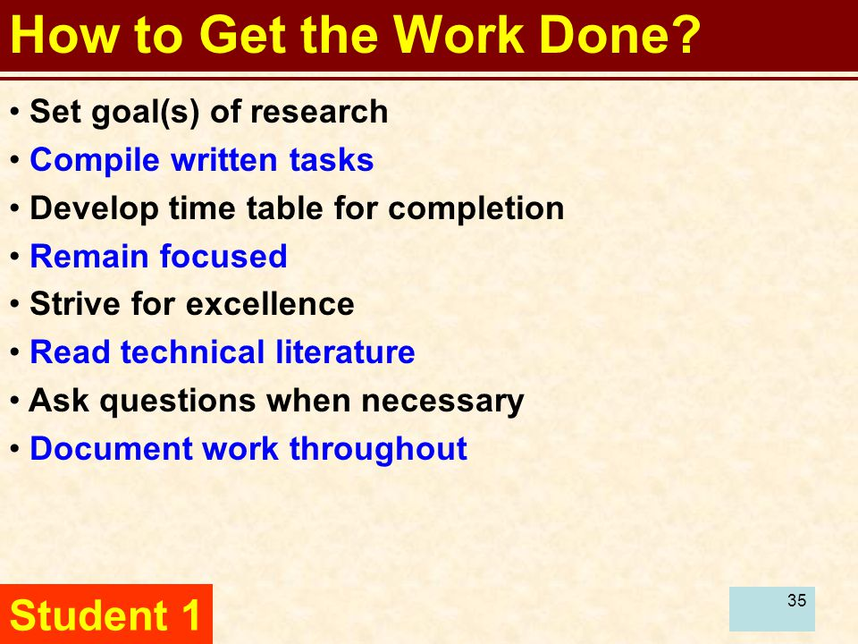 36 How to Get the Work Done.