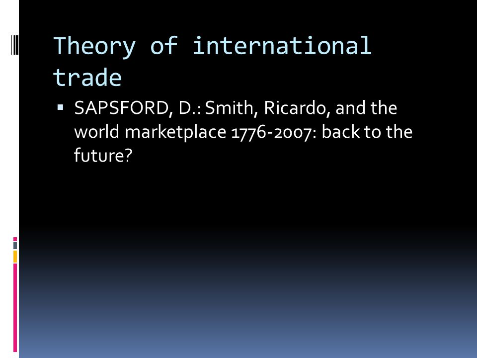 Smith on international trade