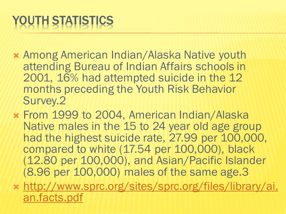  When compared with other racial and ethnic groups, American Indian/Alaska Native youth have more serious problems with mental health disorders related to suicide, such as anxiety, substance abuse, and depression.