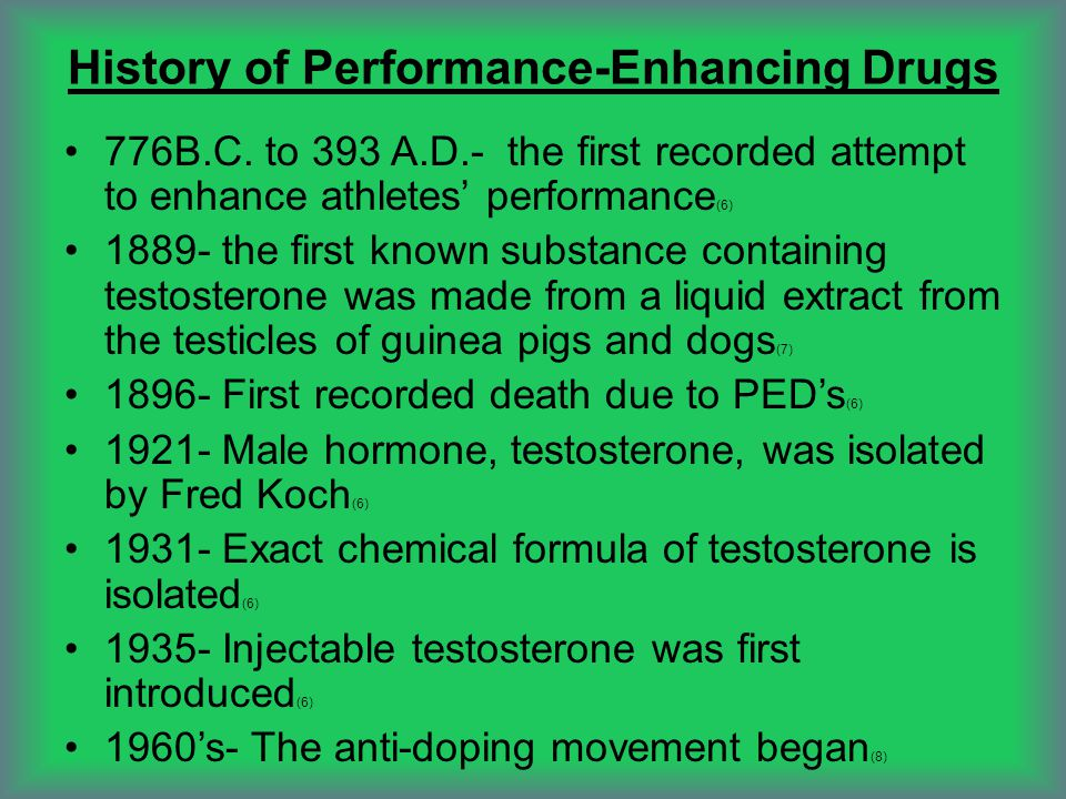 Government Involvement with Performance Enhancing Drugs 1988- the First Anti-Drug Abuse Act was passed by Congress (9) 1990- Anabolic Steroid Control Act was passed by Congress (9) 2004- President bush passed the Anabolic Steroid Control Act of 2004 2007- Congress began interviewing athletes after the release of the Mitchell Report