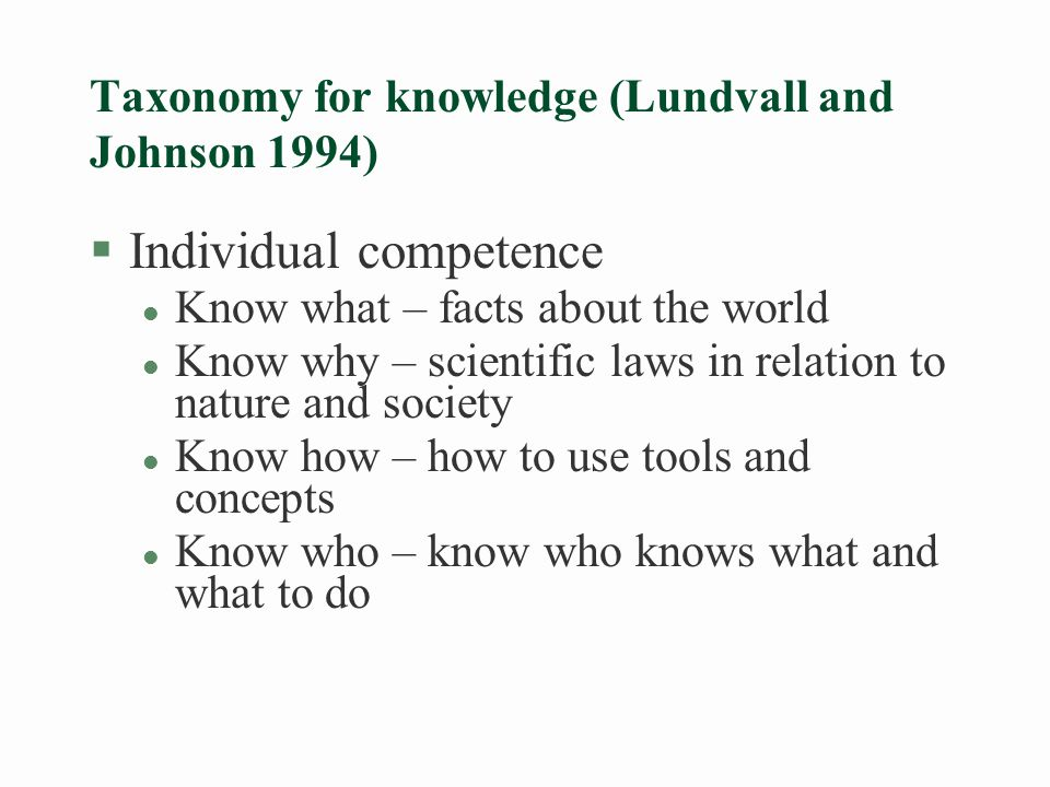 Economics: Information (know-what/know why) as commodity – the insights of Kenneth Arrow §Market failure l Buyer uncertainty about the value of information l Seller keeps it when selling it l Buyer can sell it to others after he has bought it l Easy to reproduce once it has been produced §Policy issues l Intellectual property rights to give incentives to knowledge producers l Public production or subsidies to knowledge producers
