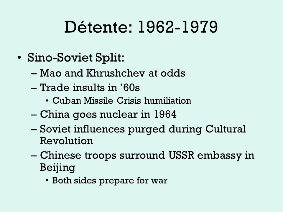 Détente: 1962-1979 Remember the arms race.