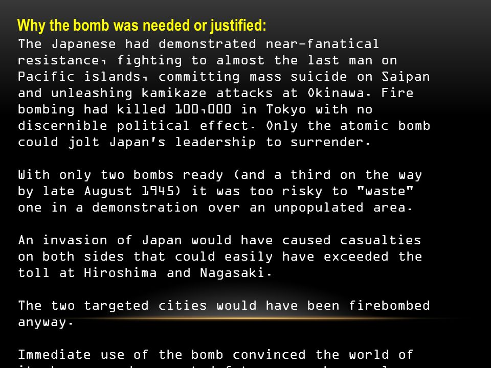 Why the bomb was not needed, or unjustified: Japan was ready to call it quits anyway.