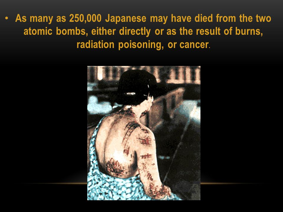 JAPANESE LEADERS AFTER THE USE OF THE ATOMIC BOMBS Even after the use of the atomic bomb on Hiroshima and Nagasaki, the Japanese were still undecided on whether to surrender The surrender plan with four conditions 1.
