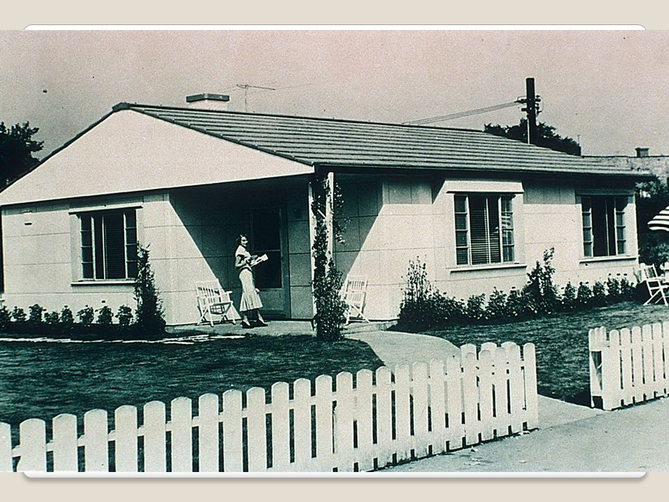 Prefabricated Housing Immediately after WWII, US experienced severe housing shortage, w/ millions of returning vets & baby boom occurring, US lacked enough places to live Govt encouraged housing industry to increase building rate- mandating that a large portion be in low-cost range ◦ However, wasn't economically feasible- too expensive with bricks, etc.