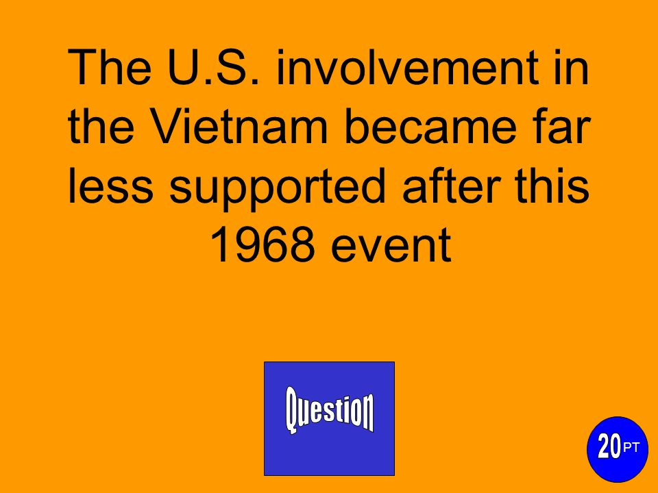 The U.S. involvement in the Vietnam became far less supported after this 1968 event PT