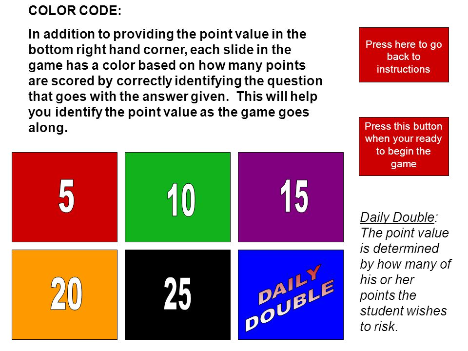 COLOR CODE: In addition to providing the point value in the bottom right hand corner, each slide in the game has a color based on how many points are scored by correctly identifying the question that goes with the answer given.