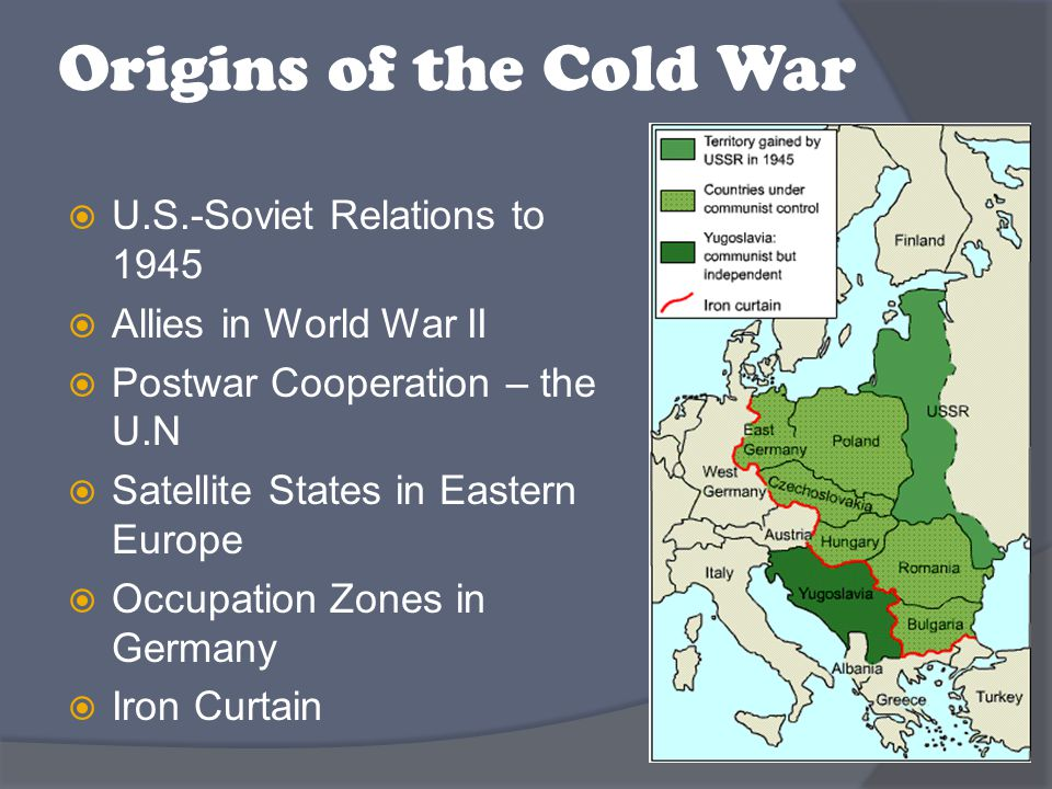  Most of Europe had been divided by Nazi occupation, and USSR and USA superpowers were responsible for setting up new governments  Free elections were agreed upon, but Soviet Union didn't keep the agreement This created tension and division in the Western World ○ 2 increasingly hostile blocks ○ President Truman saw it as a struggle between good and evil, rather than between 2 regions of political inflence