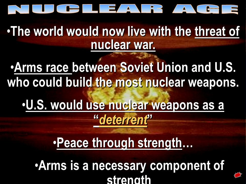 The Arms Race: A Missile Gap? }The Soviet Union exploded its first A-bomb in 1949.