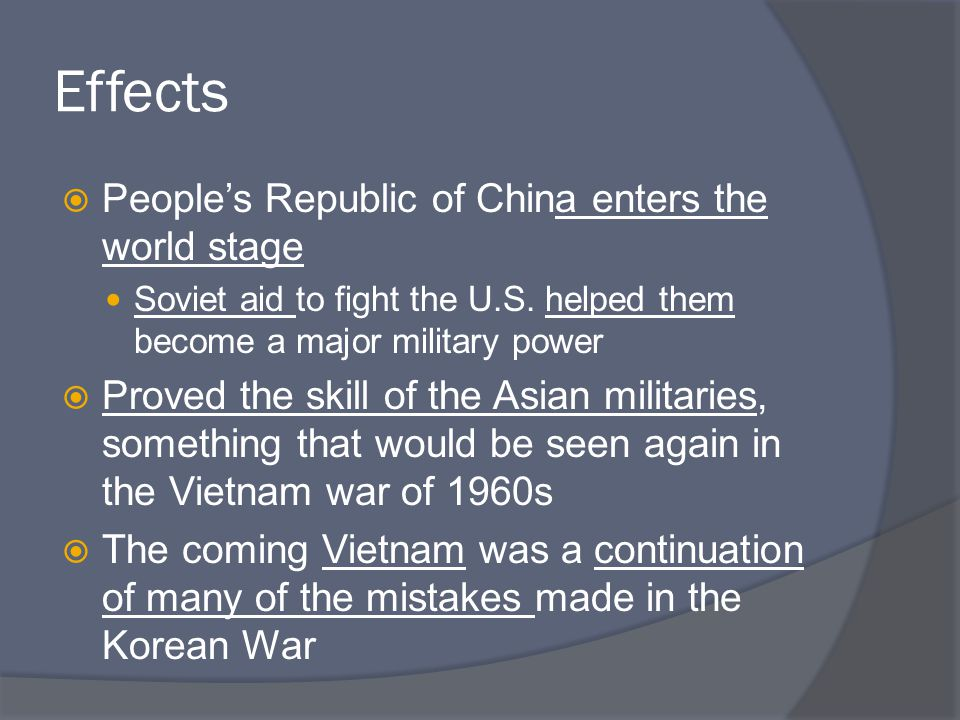  Disastrous for Korea Destroyed most of its industrial plants N.