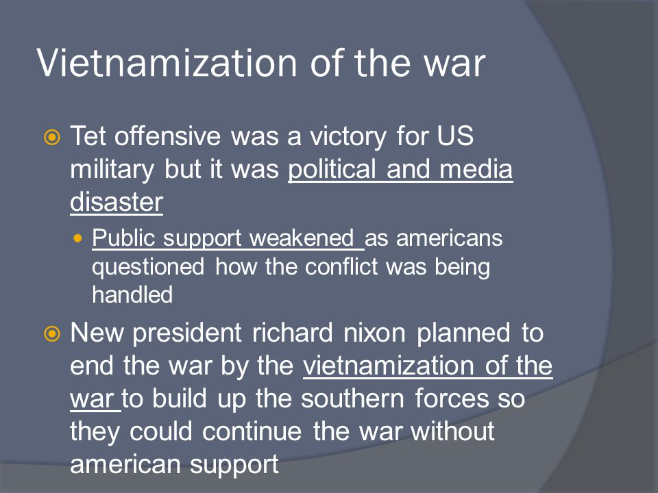 Public Support  Things were going well until increased bombings by US occurred, suggesting an expansion of the war rather than ending  In 1970, ground forces attacked Cambodia  Public support fell further when the Pentagon Papers were discovered Top secret official documents showing lies about Gulf of Tonkin, secret American bombings of Laos, and provided a bleak outlook for victory