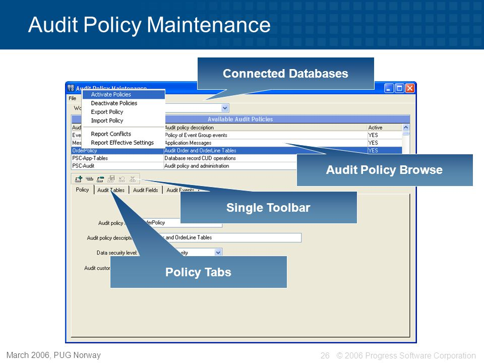 © 2006 Progress Software Corporation27 March 2006, PUG Norway Audit Policy Maintenance - Policy Tab Create, update, delete policy Audit Policy Name Description Data Security Level Custom Level Activate / deactivate