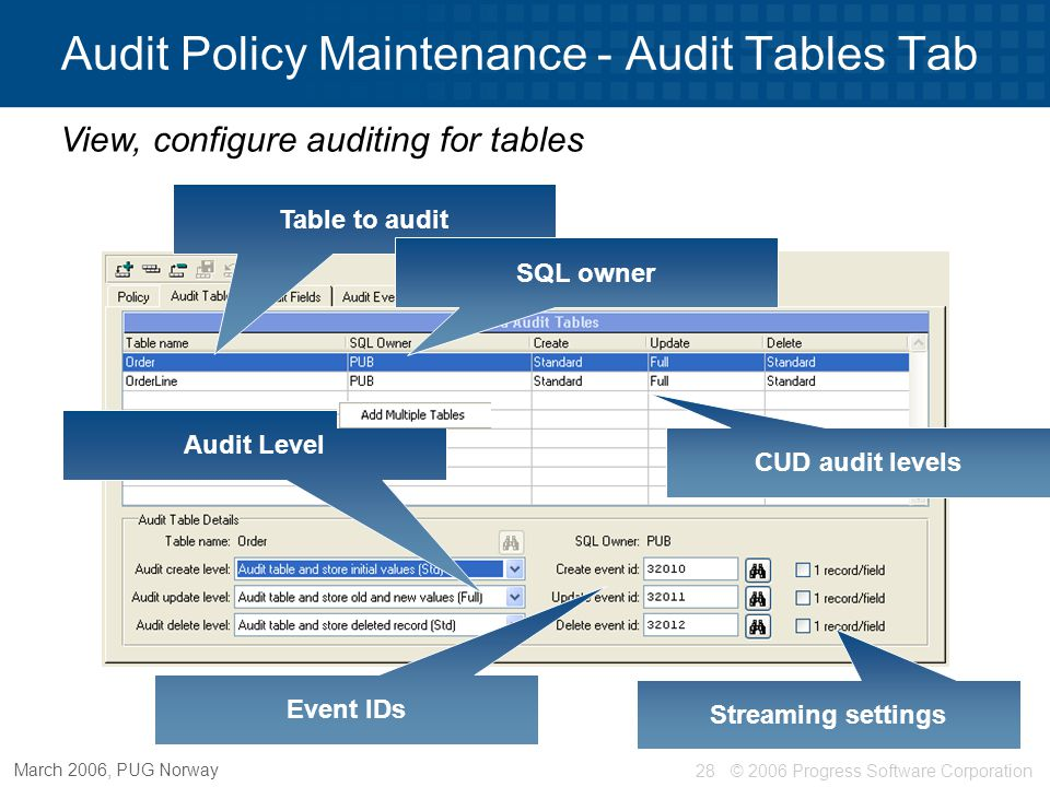 © 2006 Progress Software Corporation29 March 2006, PUG Norway Audit Policy Maintenance - Audit Fields Tab Table to audit Field to audit CUD audit levels Identifying field Field level auditing – overrides table settings Streaming values