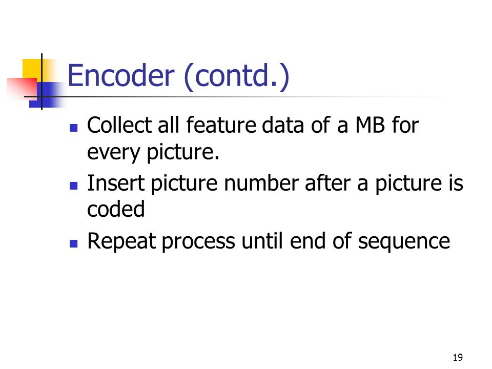 20 Encoder (contd.) Feature data Hash (SHA) Generate signature D=DSA(H) Encryption E= RSA(D) Sender's private key Receiver's public key Append as SEI to video bitstream Signature generation for a coded video sequence H D E