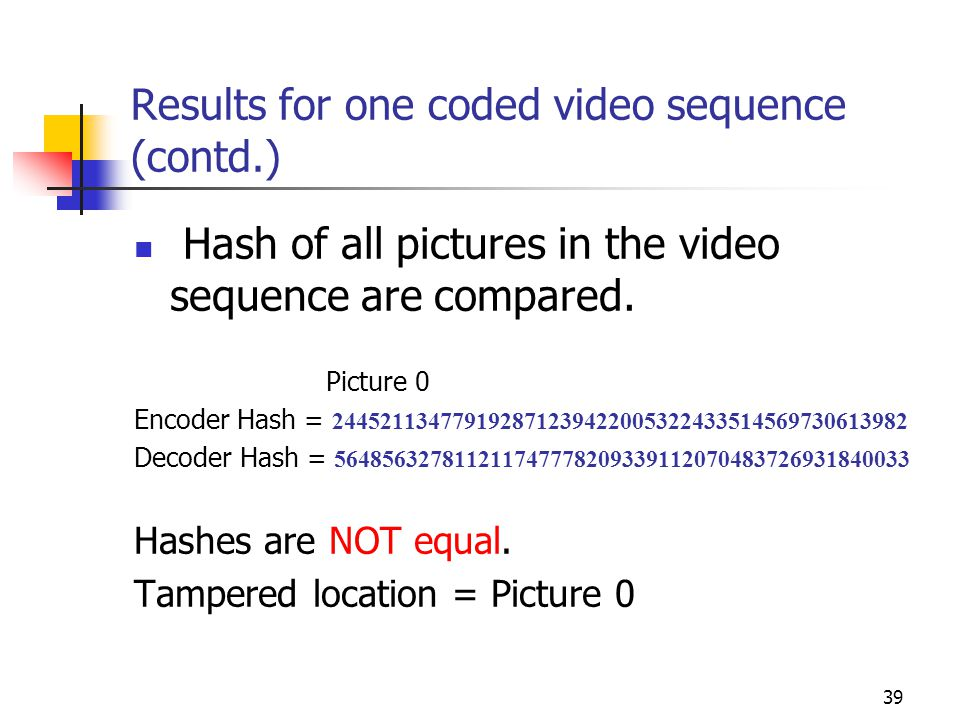 40 Results for one coded video sequence (contd.) Detecting malicious activity Private key used to sign video = Imposter's Public key used to verify = Legal user's Original Private Key = 932308816105877193346324924405238358561797363453 Imposter's private key = 1 3230881610587719334632492440523835856179736345