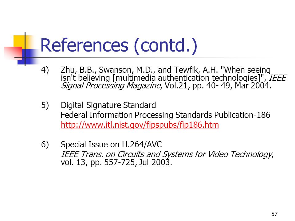 58 References (contd.) 7)Tamhankar, A.and Rao, K.R.