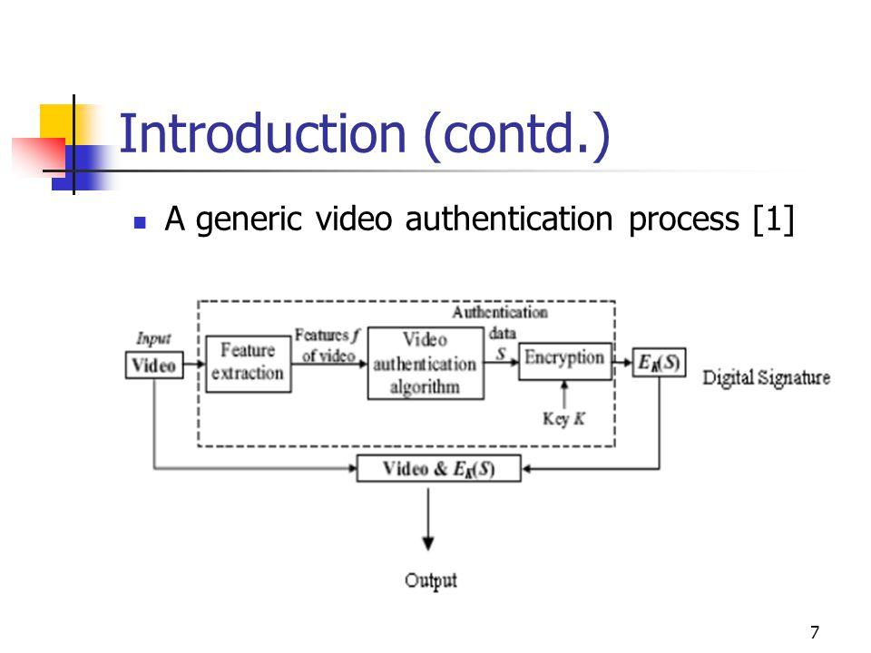 8 Introduction (contd.) A generic video verification process [1]