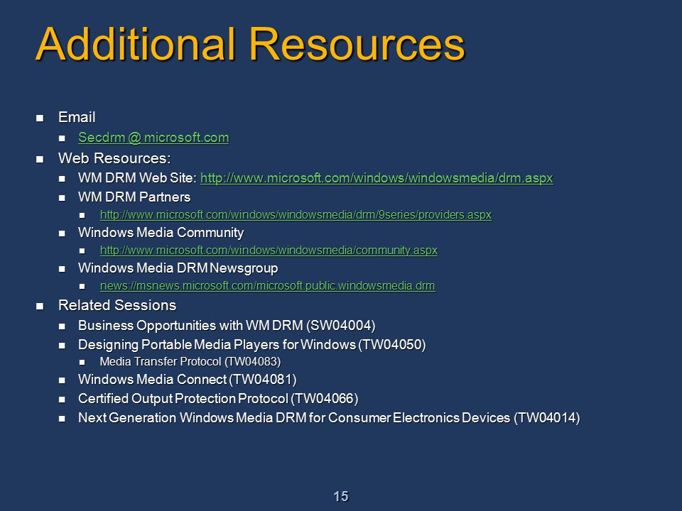 16 Community Resources Community Sites Community Sites http://www.microsoft.com/communities/default.mspx http://www.microsoft.com/communities/default.mspx http://www.microsoft.com/communities/default.mspx List of Newsgroups List of Newsgroups http://communities2.microsoft.com/communities/newsgroups/en- us/default.aspx http://communities2.microsoft.com/communities/newsgroups/en- us/default.aspx http://communities2.microsoft.com/communities/newsgroups/en- us/default.aspx http://communities2.microsoft.com/communities/newsgroups/en- us/default.aspx Attend a free chat or webcast Attend a free chat or webcast http://www.microsoft.com/communities/chats/default.mspx http://www.microsoft.com/communities/chats/default.mspx http://www.microsoft.com/communities/chats/default.mspx http://www.microsoft.com/seminar/events/webcasts/default.mspx http://www.microsoft.com/seminar/events/webcasts/default.mspx http://www.microsoft.com/seminar/events/webcasts/default.mspx Locate a local user group(s) Locate a local user group(s) http://www.microsoft.com/communities/usergroups/default.mspx http://www.microsoft.com/communities/usergroups/default.mspx http://www.microsoft.com/communities/usergroups/default.mspx Non-Microsoft Community Sites Non-Microsoft Community Sites http://www.microsoft.com/communities/related/default.mspx http://www.microsoft.com/communities/related/default.mspx http://www.microsoft.com/communities/related/default.mspx