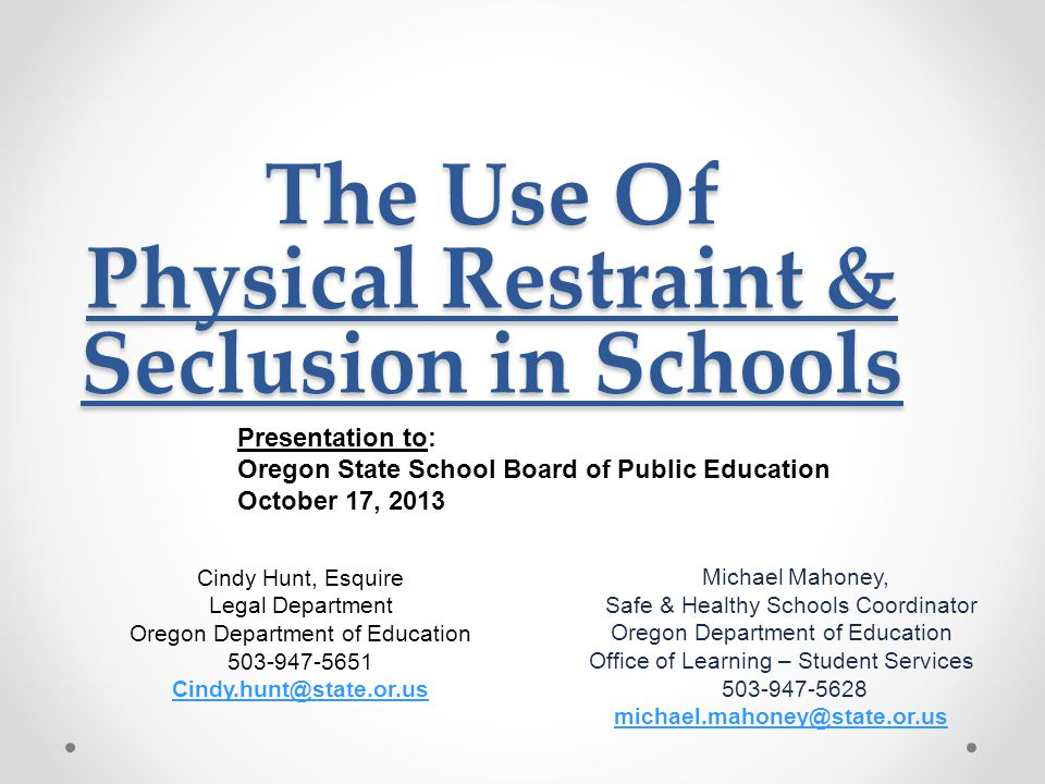 Disclaimer It is the policy of the State Board of Education and a priority of the Oregon Department of Education that there will be no discrimination or harassment on the grounds of race, color, religion, sex, marital status, sexual orientation, national origin, age or disability in any educational programs, activities or employment.