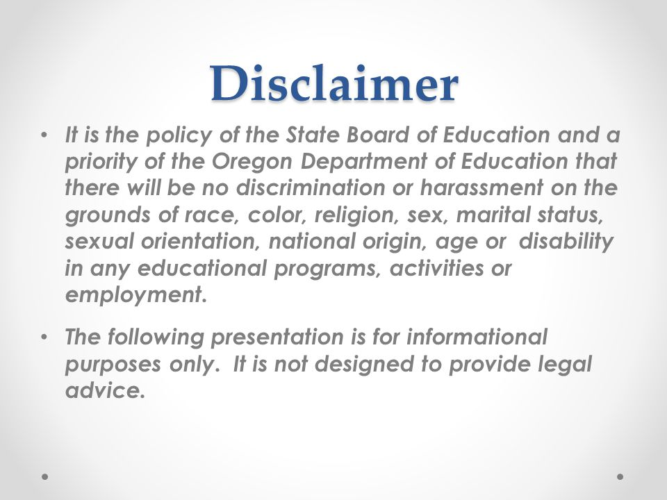 History 76th OREGON LEGISLATIVE ASSEMBLY, 2011 76th OREGON LEGISLATIVE ASSEMBLY, 2011 passed House Bill 2939: http://www.leg.state.or.us/11reg/measpdf/hb2900.dir/hb2939.en.pdf http://www.leg.state.or.us/11reg/measpdf/hb2900.dir/hb2939.en.pdf chapter 665, Oregon Laws 2011 Resulting in Provision in the Oregon Regulatory Statutes – chapter 665, Oregon Laws 2011, effective January 1, 2012.