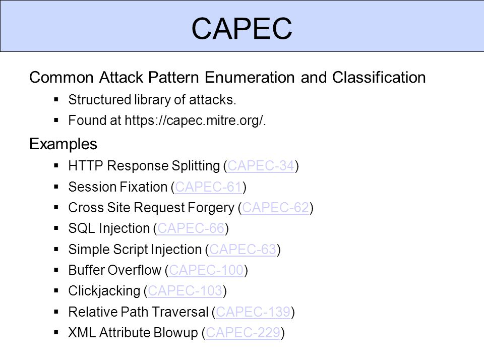 CAPEC Example Attack CSC 666: Secure Software Engineering