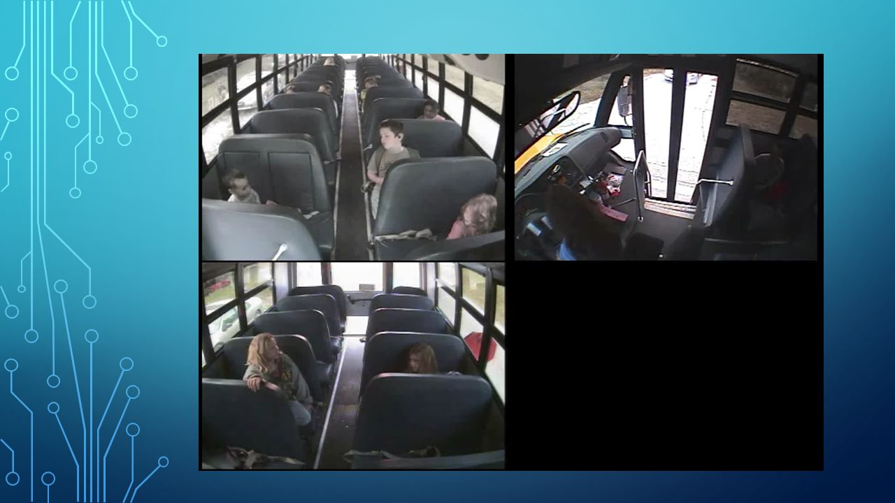 BUS SURVEILLANCE VIDEO ENHANCES THE SAFETY AND SECURITY OF STUDENTS AND BUS OPERATORS Removes all doubts about student's behavior on the bus and helps ensure bus operators are consistent in their professional driving and behavioral management skills Captures everyday events and activities surrounding the operational environment of the bus that may contribute to enhanced safety procedures Drivers feel supported when testifying and legal advisors are more comfortable with proper credible video evidence