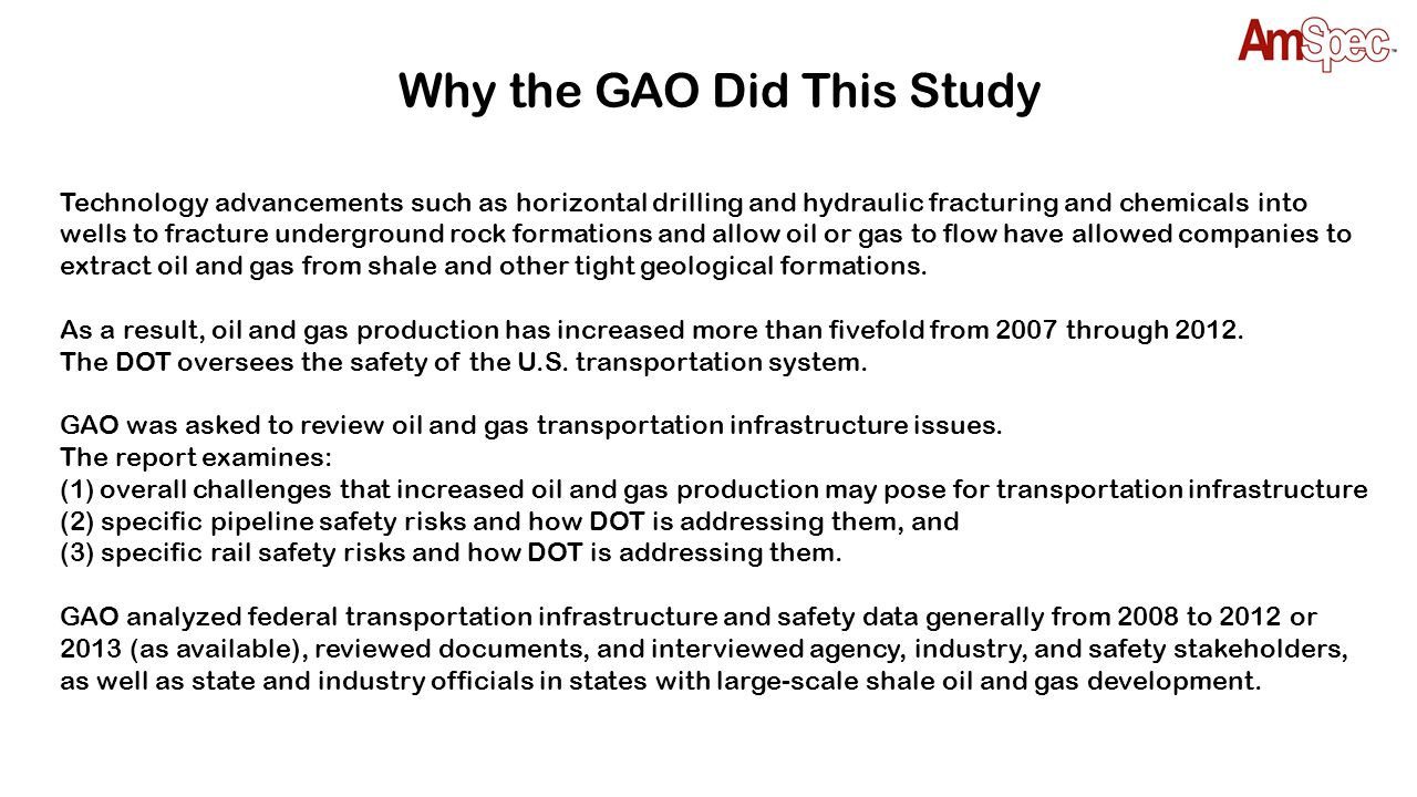 What the GAO Found Crude oil carloads moved by rail in 2012 increased by 24 times over that moved in 2008.