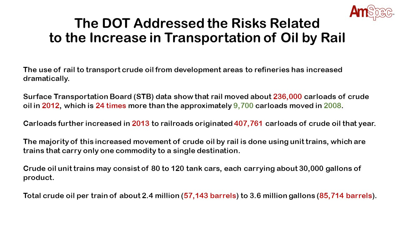 Increase in Oil-Train Incidents As domestic oil production has increased, more of it is being transported by rail due to lack of pipeline or pipeline capacity.
