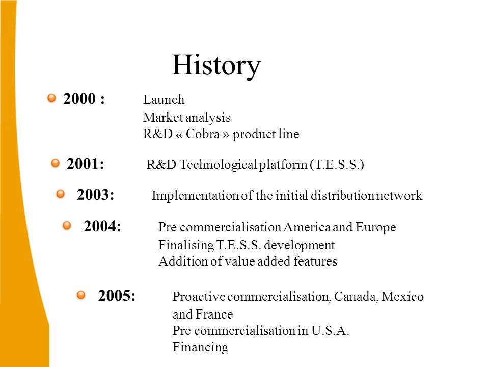 2000 : Launch Market analysis R&D « Cobra » product line 2001: R&D Technological platform (T.E.S.S.) 2003: Implementation of the initial distribution network 2004: Pre commercialisation America and Europe Finalising T.E.S.S.