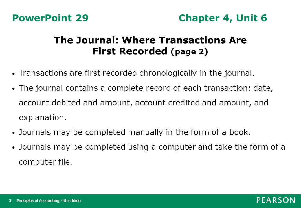 Principles of Accounting, 4th edition4 4 PowerPoint 30Chapter 4, Unit 7 Posting to the Ledger (page 1)