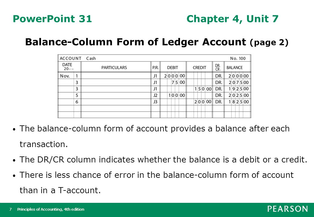 Principles of Accounting, 4th edition8 8 PowerPoint 32Chapter 4, Unit 7 Determining Account Balances (page 1) Cash Oct.145145 2500 200 1150 Oct.2727 1100 550