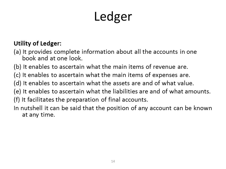 Difference between Journal and Ledger Distinction between journal and ledger can be made on the following grounds: (1) Name of the book (2) Basis of preparation (3) Stage of recording (4) Object (5) Format (6) Balancing (7) Narration (8) Name of the process of recording (9) Basis of preparation of final accounts 15