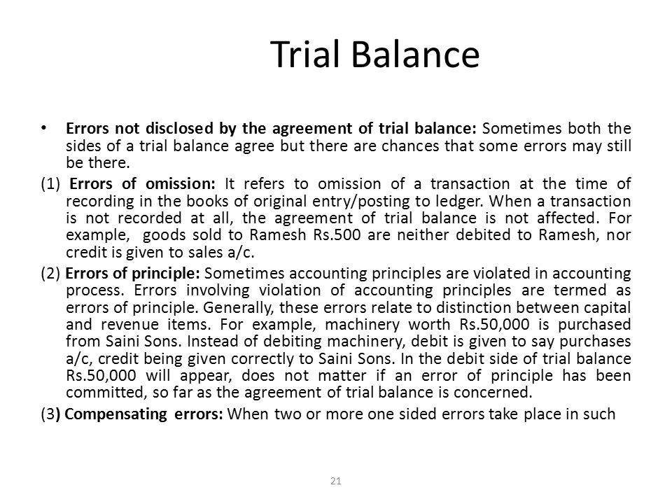 Trial Balance a way that their effect is nullified.