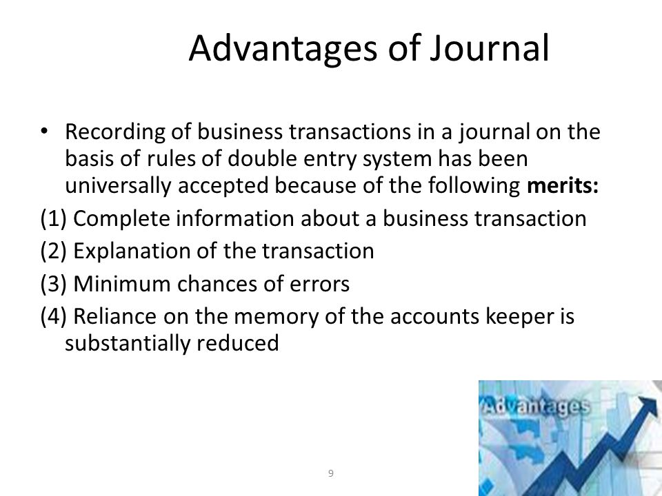 Limitation of Journal When the number of transactions is very large, it may practically be difficult, if not impossible, to record all the transactions through one journal because of the following reasons: (1) The system of recording all the transactions in a journal requires the writing down the name of the account involved as many times as the transactions occur.