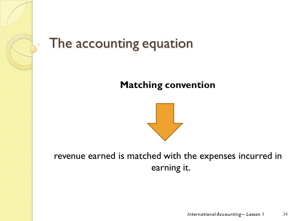 Double entry bookkeeping 35International Accounting – Lesson 1 Double entry bookkeeping: each transaction has an equal but opposite effect.