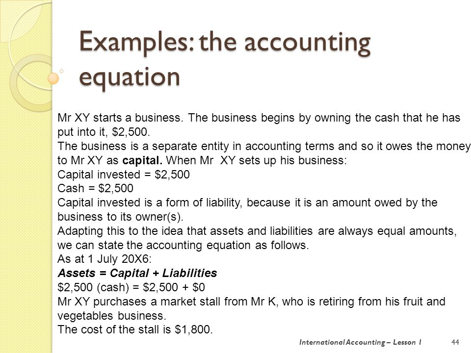 Examples: the accounting equation 45 He also purchases some flowers and potted plants from a trader in the wholesale market, at a cost of $650.